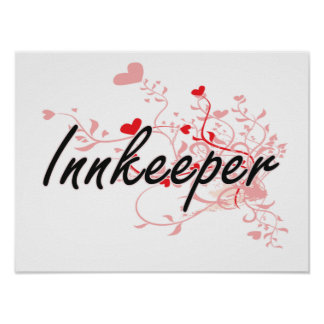 Innkeeper Artistic Job Design with Hearts Poster
