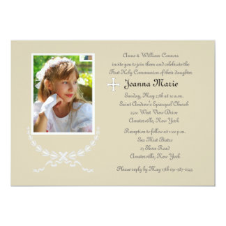 Innocence Wreath Photo Invitation