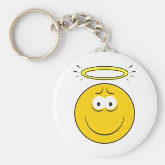 Innocent Angel  Smiley Face Basic Round Button Keychain