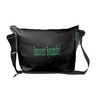 Innocent Bystander - on black background Messenger Bags