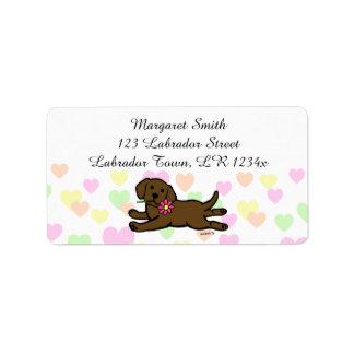 Innocent Chocolate Labrador Puppy Cartoon Label
