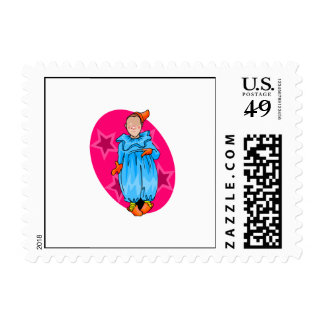Innocent clown in jammies postage stamp