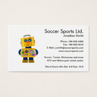 Innocent looking toy robot business card