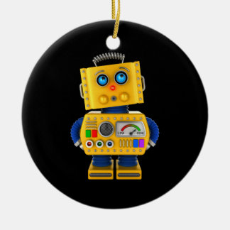 Innocent looking toy robot ceramic ornament