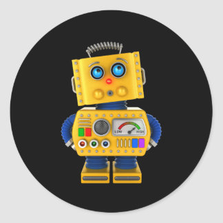 Innocent looking toy robot classic round sticker