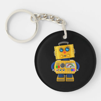 Innocent looking toy robot Double-Sided round acrylic keychain