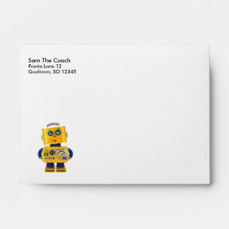 Innocent looking toy robot envelope