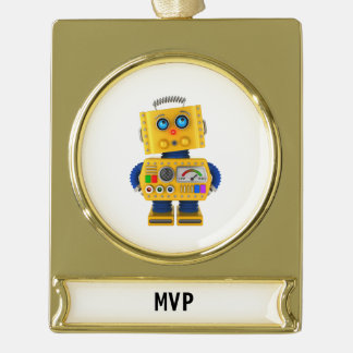 Innocent looking toy robot gold plated banner ornament