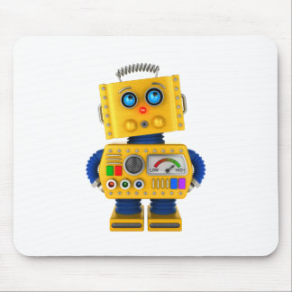Innocent looking toy robot mouse pad