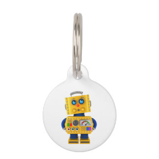 Innocent looking toy robot pet name tag