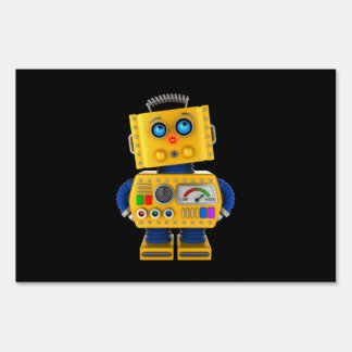 Innocent looking toy robot sign