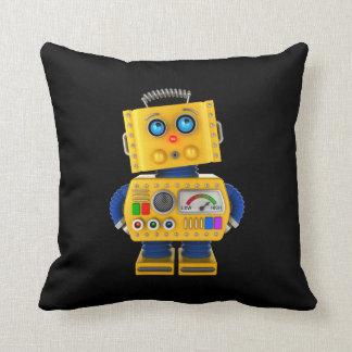 Innocent looking toy robot throw pillow