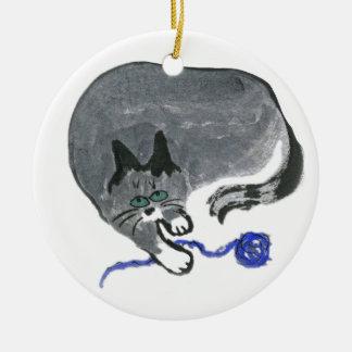 Innocent... says, Ears, the gray cat Ceramic Ornament