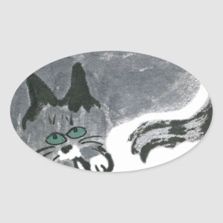 Innocent... says, Ears, the gray cat Oval Sticker