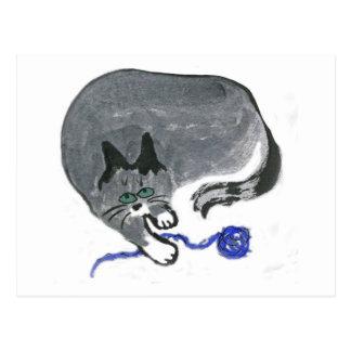 Innocent... says, Ears, the gray cat Postcard