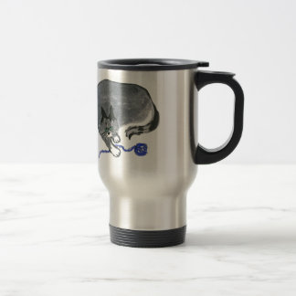Innocent... says, Ears, the gray cat Travel Mug