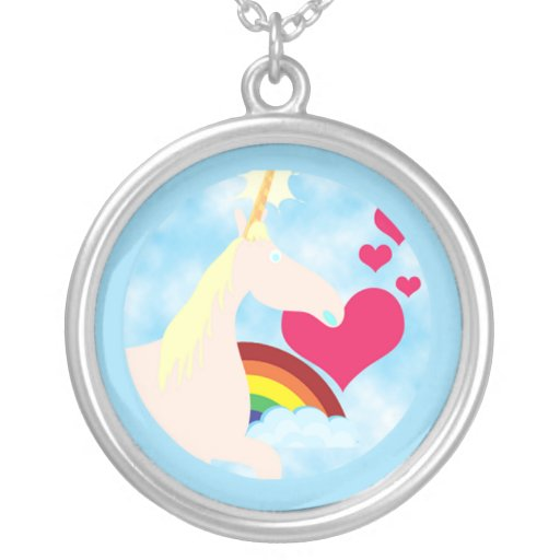Innocent Unicorn Round Pendant Necklace