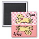 Innocent Yellow Labrador Puppy Cartoon 2 Inch Square Magnet