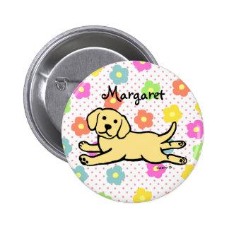 Innocent Yellow Labrador Puppy Cartoon Button