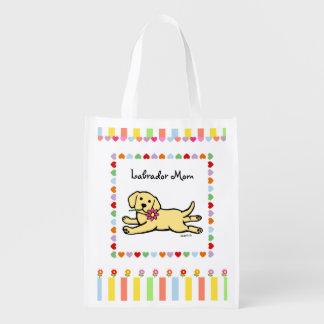 Innocent Yellow Labrador Puppy Cartoon Grocery Bag