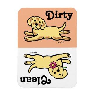 Innocent Yellow Labrador Puppy Cartoon Rectangular Magnets