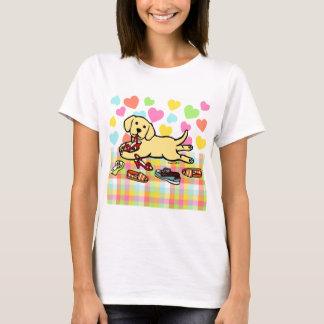 Innocent Yellow Labrador Puppy Cartoon T-Shirt