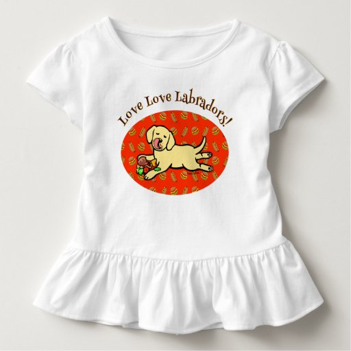 Innocent Yellow Labrador Puppy Cartoon Toddler T-shirt