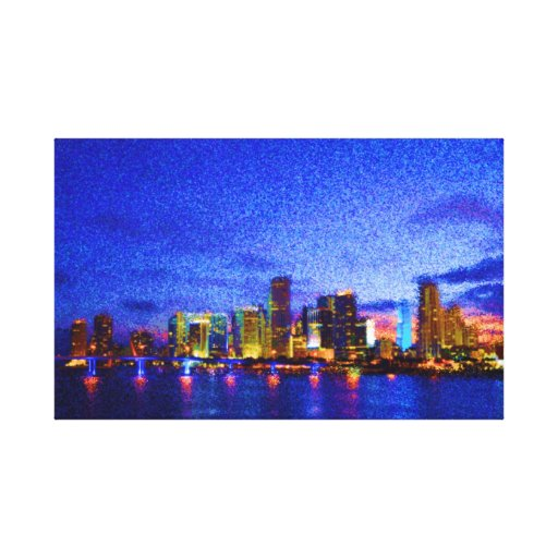 "InnovativDezynz's ""MIAMI LIGHTS"" Canvas Wall Art Stretched Canvas Print"