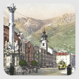 Innsbruck, Tram in  Maria Theresa Starsse Square Sticker
