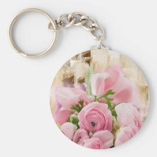 Inocencia dulce floral llavero personalizado