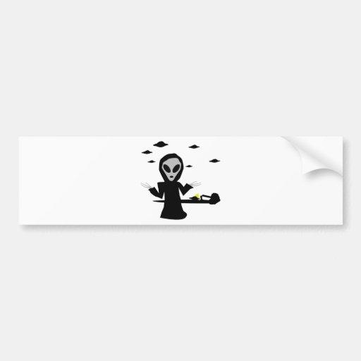 inocent crash alien car bumper sticker