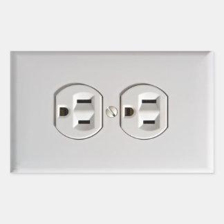Inocentes eléctricos falsos de la broma del pegatina rectangular