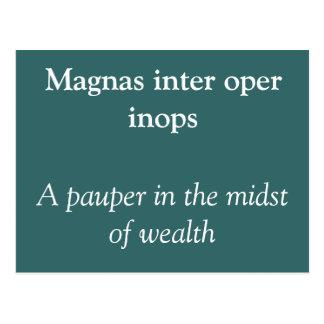 Inops interes de la operación de Magnas Tarjetas Postales