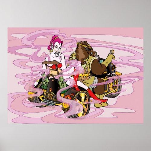 trike, wild, boar, benten, goddess, ride, purple, pink, poster, lady, asia, asian, oriental, japan, Nature, Animal