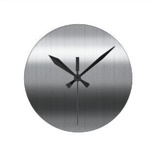 Inoxidable cepillada reloj redondo mediano