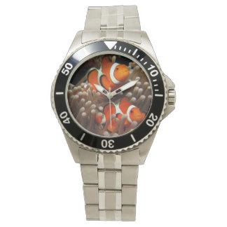 Inoxidable para hombre de los pescados del payaso relojes de mano