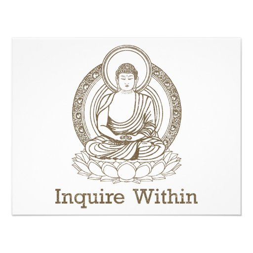 Inquire Within Buddha Personalized Invite