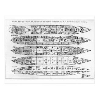Inquiry in the Loss of the Titanic: Cross sections Postcard