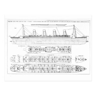 Inquiry into the Loss of the Titanic: Cross sectio Postcard