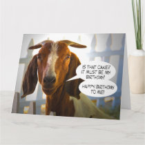 Inquisitive Goat Asks Questions Big Birthday Card