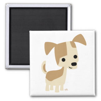 Inquisitive little dog cartoon magnet