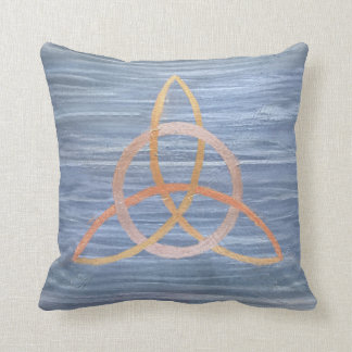 Inquisitive Metallic Gold Blue Triquetra Trinity Throw Pillow
