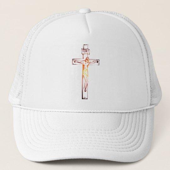 INRI Christ sur croix lumière Trucker Hat