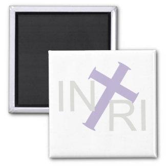 INRI Croix Gris Lilas TRANS PNG 2 Inch Square Magnet