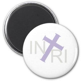 INRI Croix Gris Lilas TRANS PNG 2 Inch Round Magnet
