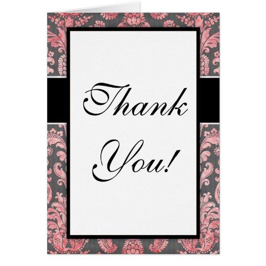 inricate vintage pink damask on deep gray design card