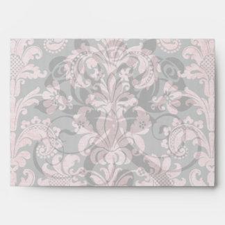 inricate vintage pink damask on deep gray envelope