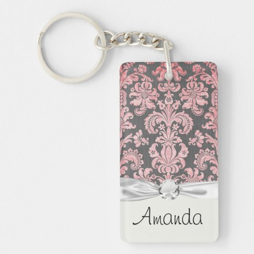 inricate vintage pink damask on deep gray Single-Sided rectangular acrylic keychain