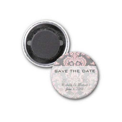 inricate vintage pink damask on deep gray refrigerator magnets