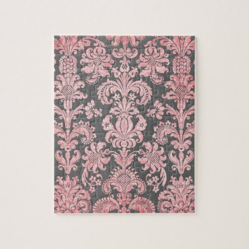inricate vintage pink damask on deep gray puzzle